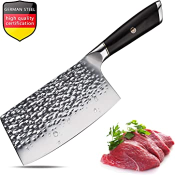 Meat Cleaver 7 Inch Cleaver Knife Chinese Chef Knife German Steel Chopper Cleaver Butcher Knife for Home Kitchen or Restaurant