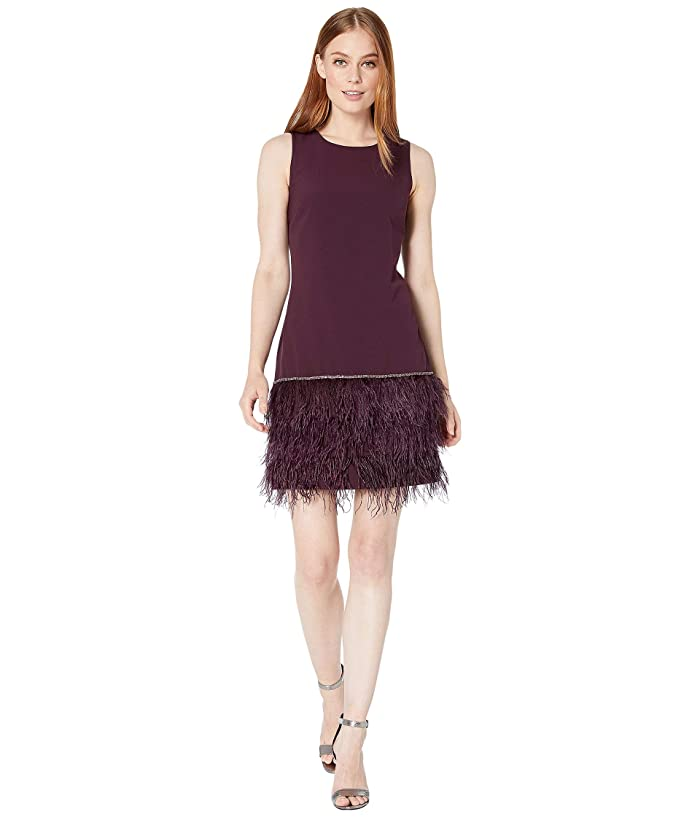 Tahari by ASL  Sleeveless Stretch Crepe Cocktail Dress with Feather Hemline (Aubergine) Womens Clothing