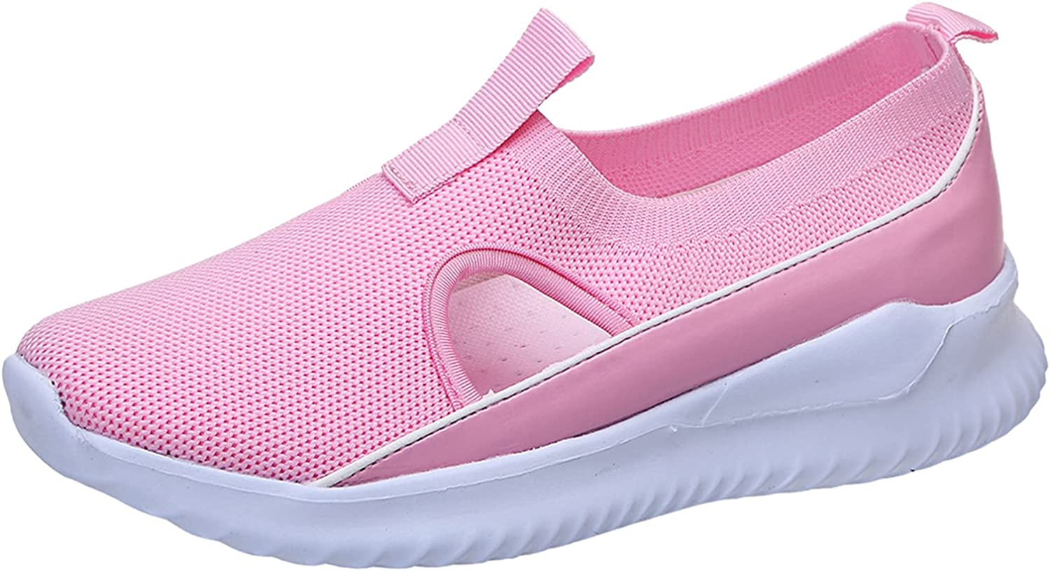 FAMOORE Women's Slip on Shoes Women Athleitc Shoes Running Walking Tennis Shoes Non-Slip Fashion Sneakers Multicoloured