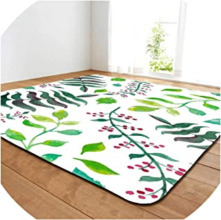 Almighty-shop Home Carpet Pastoral Simple Rug Carpets Flannel Parlor Bedroom Mats Big Floral Memory Foam Plastic Bottom Area Rugs Carpets for Living Room,No-8,152X99Cm