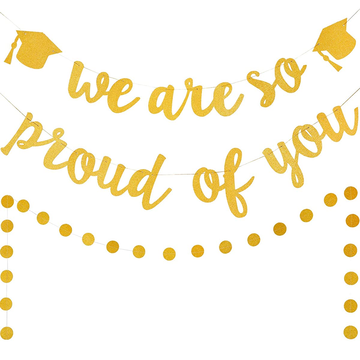 Graduation Party Decoration Set Includes We are So Proud of You Banner and Circle Dots Banner Photo Backdrops for Graduation Supplies (Color Set 1)