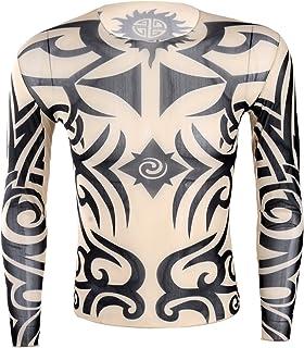 YONGHS Men`s Fake Tattoo Tribal Inspired Print Long Sleeve T-Shirt Tops Halloween Cosplay Costume