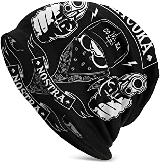 Lsjuee Cappello lavorato a maglia unisex Skull Cap Graffiti Rap Coka Nostra Warm Womens Mens Cappelli neri