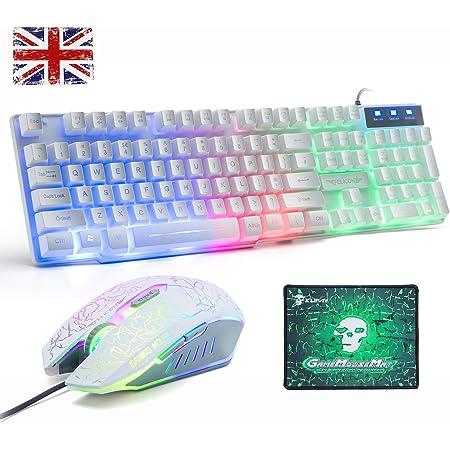 Juego de teclado y ratón para UK diseño, Lexon Tech Rainbow LED retroiluminado con teclado y combo de ratón, con sensación mecánica Gamer teclado con ...