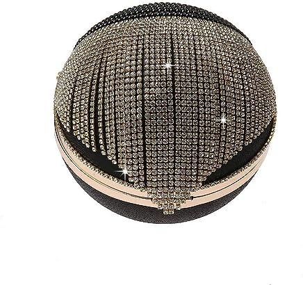 Ladies Handbag Tassel Rhinestones Evening Bag Finger Ring Diamonds Wedding Clutch Handbags Chain Shoulder Party (Color : Black)