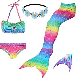 Fishkidtail Princess Mermaid Tails for Swimmimg Included Monofin Bikini Bathing Suit Set for 3-12Y