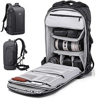 Mochila Fotográfica Multifunción y Impermeable Mochila Grande para Cámaras Réflex Digital SLR Canon Nikon Sony Drone y Accesorios Lentes Trípode Flash Laptop Portátil 16 Pulgadas