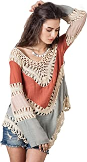 Women's Boho V Neck Crochet Tunic Tops Blouse Shirt Hollow Out Beach Swimsuit Cover up