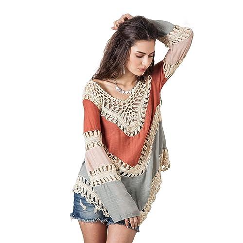 1a19d8321003a Vanbuy Women s Boho V Neck Crochet Tunic Tops Blouse Shirt Hollow Out Beach  Coverup