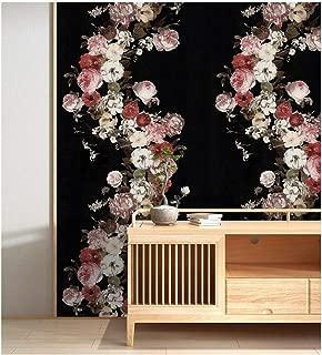 HaokHome 690106 Vintage Rose Flower Wallpaper Floral Black/Pink/White Home Bedroom Wallpaper 20.8