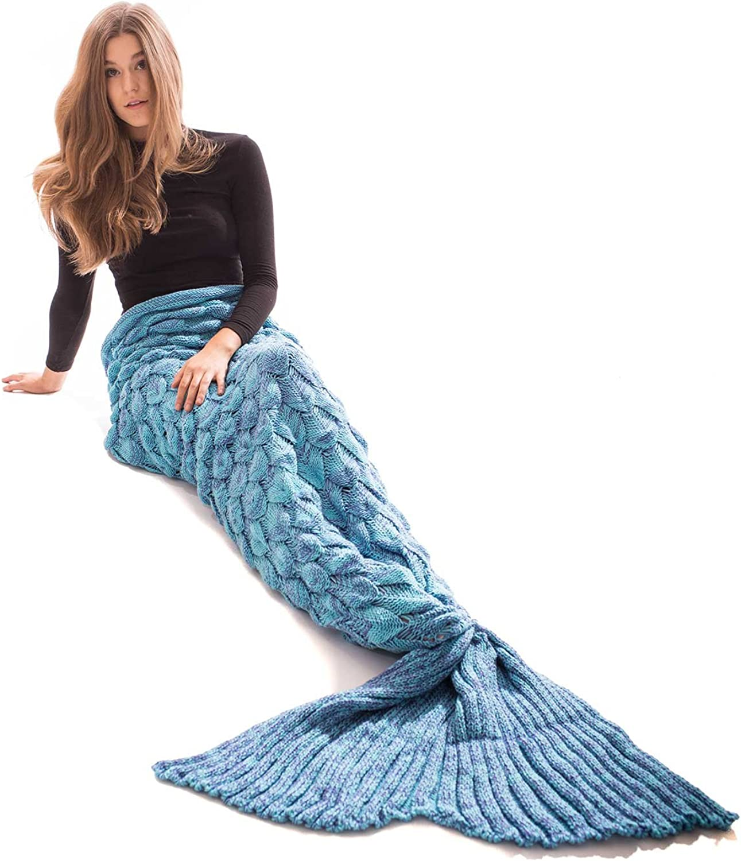 Bikinima Aqua bluee Scale Mermaid Tail Blanket