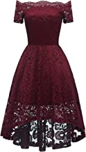 Bright Deer Women Lace Scallop Bardot Off Shoulder High Low Midi Party Prom Dress