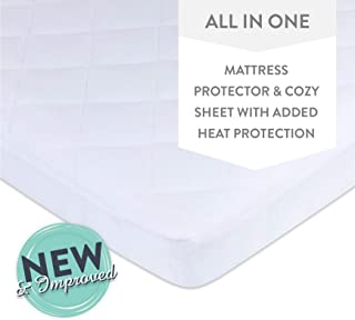 Ely's &Co. Waterproof Quilted Pack N Play, Mini Crib Mattress Pad Cover - 100% Jersey Knit Cotton Playard Mattress Pad Protector Doubles as a Sheet with a Dryer Safe Waterproof Lining (White)