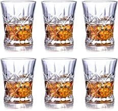 Whiskey Glasses SET OF 6 Premium Diamond Spirit Rocks Glass set - Lead Free Glass Cups and Tasting Tumblers for drinking Scotch, Bourbon. Irish whiskey, Brandy - Luxury Gifts for Men or Women