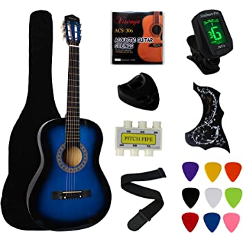 """YMC 38"""" Blue Beginner Acoustic Guitar Starter Package Student Guitar with Gig Bag,Strap, 3 Thickness 9 Picks,2 Pickguards,Pick Holder, Extra Strings, Electronic Tuner -Blue"""