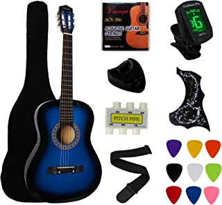 "YMC 38"" Blue Beginner Acoustic Guitar Starter Package Student Guitar with Gig Bag,Strap, 3 Thickness 9 Picks,2 Pickguards,..."