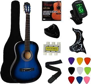 "YMC 38 ""گیتار آبی گیتار آبی نوآورانه بسته گیتار دانشجویی با کیف دستی، بند، 3 ضخامت 9 پاکت، 2 نگهبان، نگهدارنده، رشته اضافی، تیونر الکترونیکی -Blue"