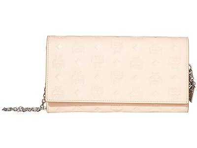 MCM Klara Monogrammed Leather Charm Flap Wallet (Bisque) Handbags