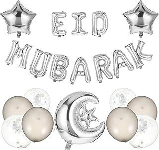 Tomaibaby 1 Set Eid Mubarak Balloons Banner Party Decorations Aluminum Foil Star Moon Balloon Confetti Balloons Ramadan Pa...