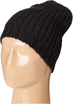 KNH3429 Solid Knit Rib Beanie with Ribbed Opening
