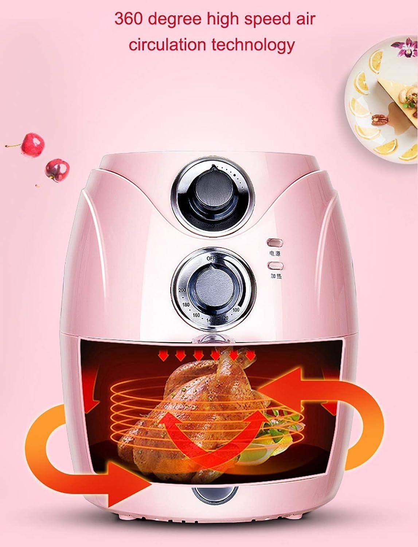 1200W Oil-Free Air Fryer met verstelbare temperatuurregeling en Timer for Oil-Free of gezonde Vetarm koken, 2.5L Capacity, Blue (Kleur: Roze) 8bayfa (Color : Black) Pink