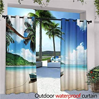 Jktown Tropical Outdoor Curtain Panel for Patio Wooden Boat Seychelles Beach with Palm Trees Paradise Ocean Scenery Waterproof Patio Door Panel 108x108 INCH,Beige Hunter Green Blue