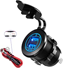 YONHAN 36W Quick Charge 3.0 Dual USB Car Charger Socket, Waterproof 12V USB Outlet with Blue LED & 10A Fuse for 12V/24V Marine Boat Golf Cart Truck Motorcycle and More