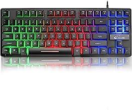 K16 Bedraad 87-toetsen gamingtoetsenbord Mechanisch gevoel Regenboog LED-achtergrondverlichting Waterdicht Ergonomisch 16-...