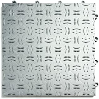 GarageTrac Diamond, Durable Interlocking Modular Garage Flooring Tile (48 Pack), Alloy