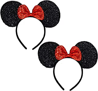 FANYITY Set of 2 Mouse Ears Headbands Sequin Hair Band for Girls Women Boys Party