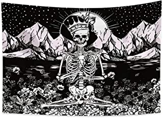 Yongto Skull Tapestry Hippie Meditation Skeleton Tapestries Trippy Mountain Floral Wave Tapestry Black and White Tapestry ...