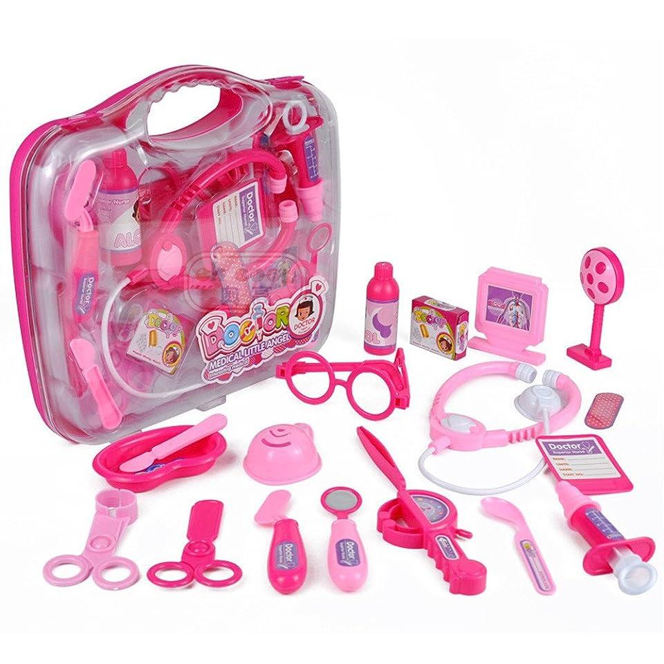 識別する解釈する格納19ピース 子供用 ロールプレイドクター 看護師 おもちゃ 医療セット キット ギフト ハードケース
