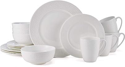 Mikasa Indira Chip-Resistant 16 Piece Dinnerware Set, Service for 4, White