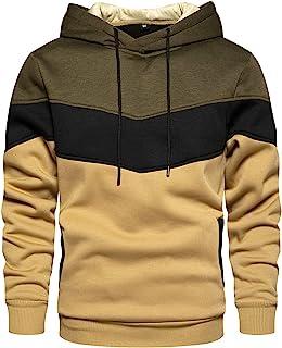 Men's Novelty Color Block Pullover Fleece Hoodie Long...