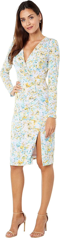 LAUNDRY BY SHELLI SEGAL Women's Long Sleeve Midi V Neck Mesh Dress