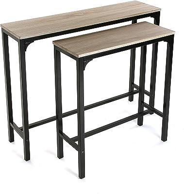 Versa Doncaster Meuble d'Entrée Étroit pour l'Entrée ou Couloir, Table Console, Dimensions (H x l x L) 80 x 25 x 95 cm, Bois et métal, Couleur Noir