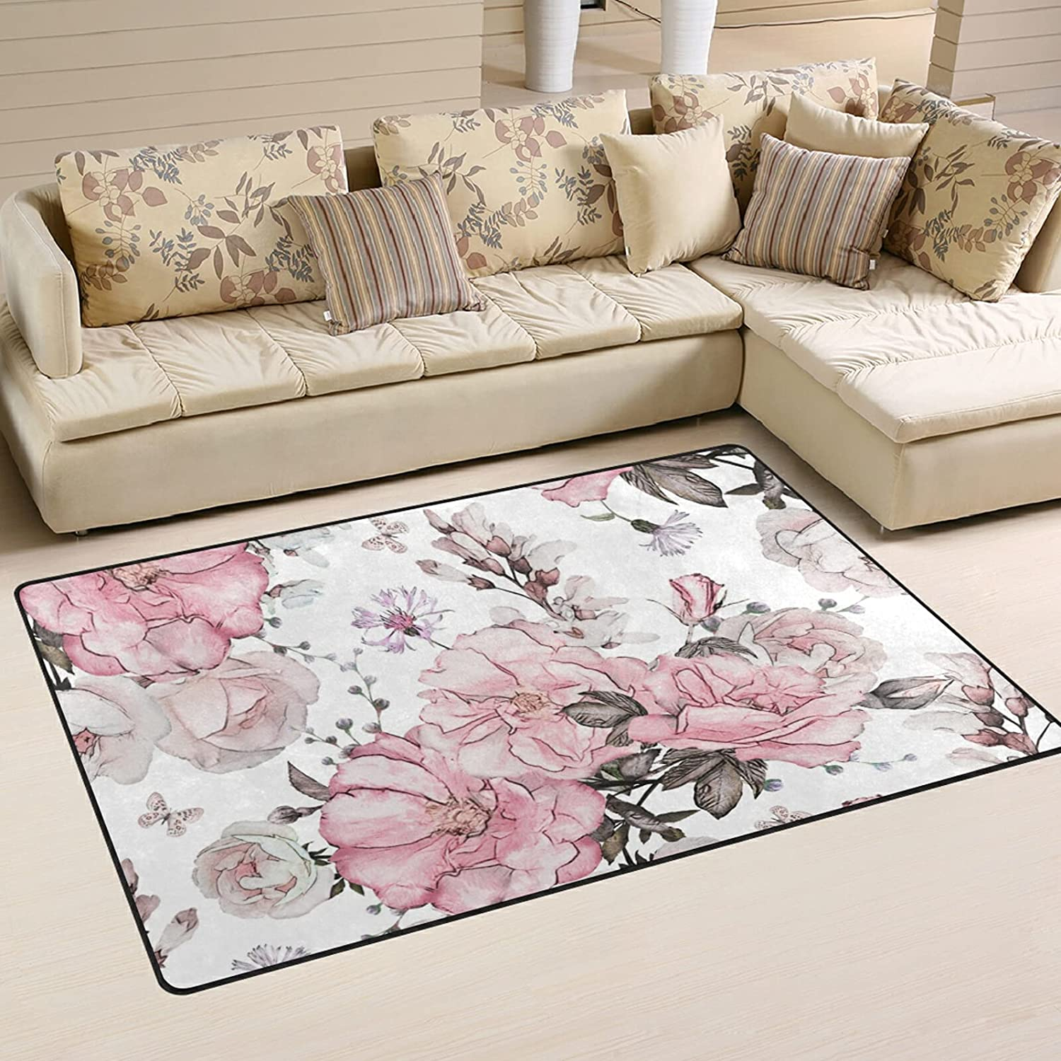 Pink Flowers Leaves Large Soft Area Rug Rugs Mat Popular brand in the Import world Playmat Nursery