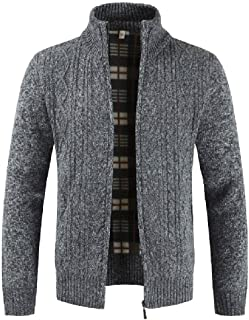 Fashion Mens Autumn Winter Casual Zipper Jacket Knit Cardigan Long Sleeve Coat