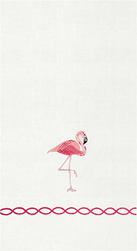 Tropical Pink Flamingo Mingo Embroidered 14 X 22 Inch Guest Towel