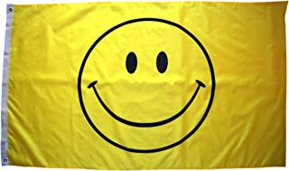 High Supply 3x5 Yellow Smiley Face Flag with Double Stitched Edges, Two Brass Grommets, and 100% Polyester Fabric, Happy F...
