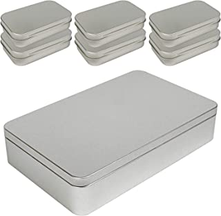 8.5 by 5.3 by 1.9 Inch Silver Metal Rectangular Empty Tin Box Containers for Gift Jewelry Craft Storage Organization with ...