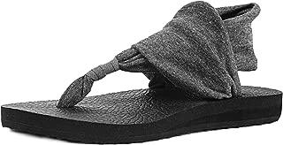 Womens Flip Flops Yoga Sling Rhinestones Flat Sandals Comfort Shoes