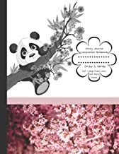 Story Journal Composition Notebook Draw & Write Half College Ruled Lines Half Blank Space: Combined Note and Sketch Workbook Top & Bottom (Black and White Panda Bear Japanese Cherry Blossom)