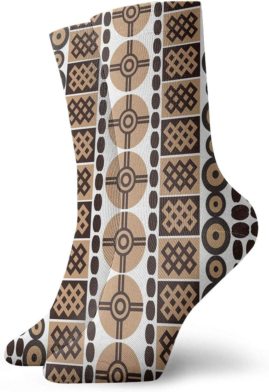 Compression High Socks-Unique Safari Artistic Kenyan Traditional Folk Symbols Culture Retro Print Best for Running,Athletic,Hiking,Travel,Flight