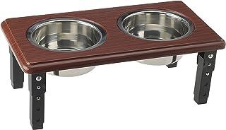 Adjustable Double Feeding Station Diner - Premium Quality - Elevated, Non-Skid, Oak - Wood tone, 3-Quart - Steel Bowls - P...