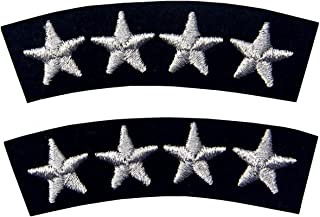 Navy Uniform Four Stars Embroidered Iron On Sew On Fashion Decorative Patch Sliver Pack of 2