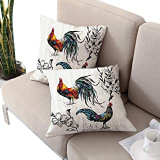 Michaeal Gallos Decor Collection Square Chaise Lounge Cushion Cover,Roosters and Flowers Branches Stems Blooms Grasses Wildflowers Artwork Print Yellow Teal Blue W16 xL16 2pcs