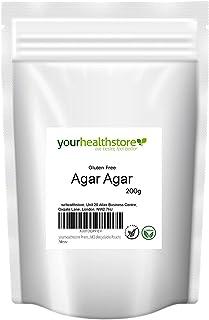 Yourhealthstore Premium agar en polvo de agar sin gluten 200 g, gelatina vegana, europea, sin OMG (bolsa reciclable)
