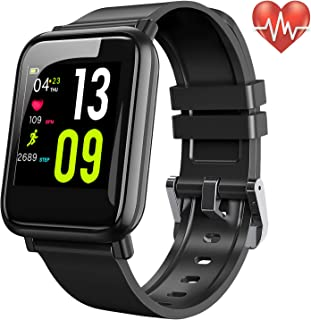STOON Fitness Tracker with Heart Rate Monitor, Activity Tracker with Step Counter, HD Display Pedometer Watch, Sleep Monitor, Calorie Counter, Waterproof Fitness Watches for Women Kids Men (Black)