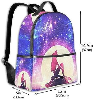 Classic School Backpack Galaxy Little Mermaid Unisex College Schoolbag Travel Bookbag Black